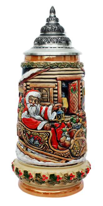 Santa in Sleigh German Christmas Beer Stein