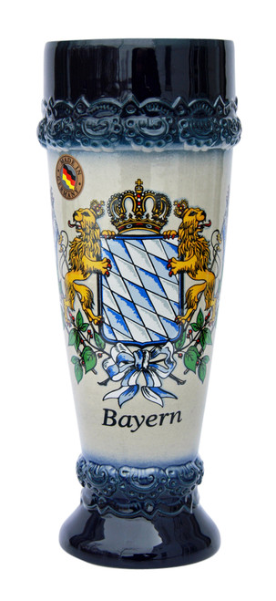 Wheat Beer Glass with Bavarian Lion Crest