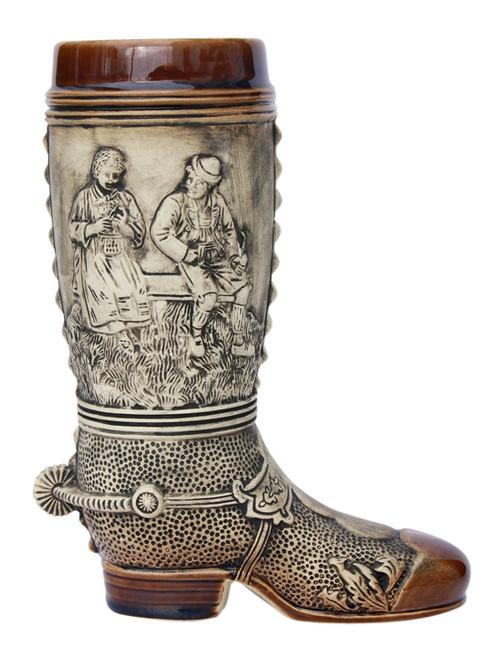 1 Liter Rustic Ceramic German Beer Boot with Spur on Heel