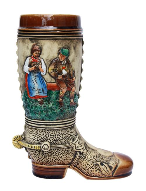 German-Made 1 Liter ceramic Beer Boot Depicts German Scenes