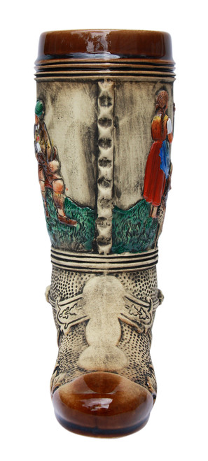 Hand-Painted Ceramic Beer Boot with 3D Spur on Heel