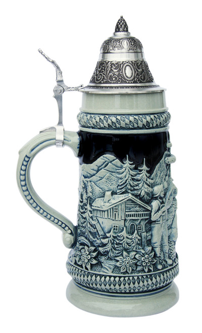 Bavarian Traditions Beer Stein Cobalt Blue