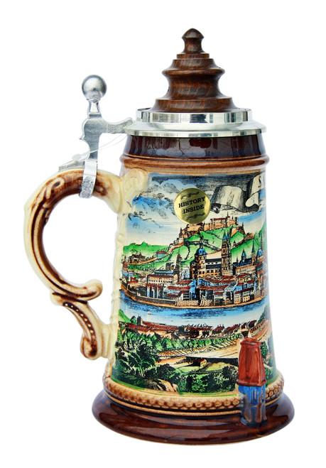 Old Salzburg Beer Stein with Wood Lid