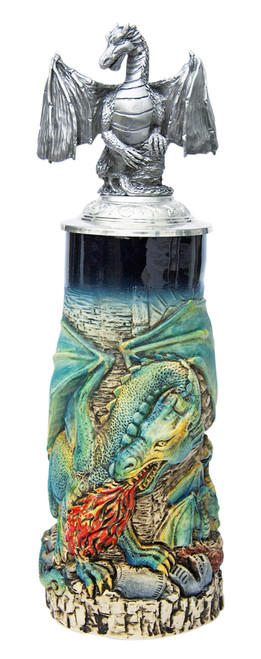Dragon Beer Stein with Dragon Lid