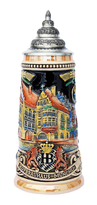 Oktoberfest German Beer Stein with Pewter Lid