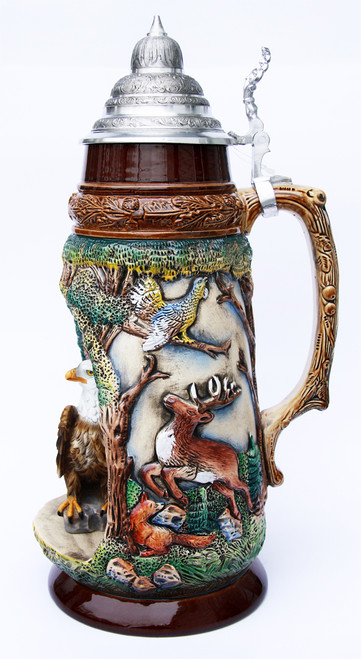 Wildlife Grotto with Eagle 2 Liter Beer Stein