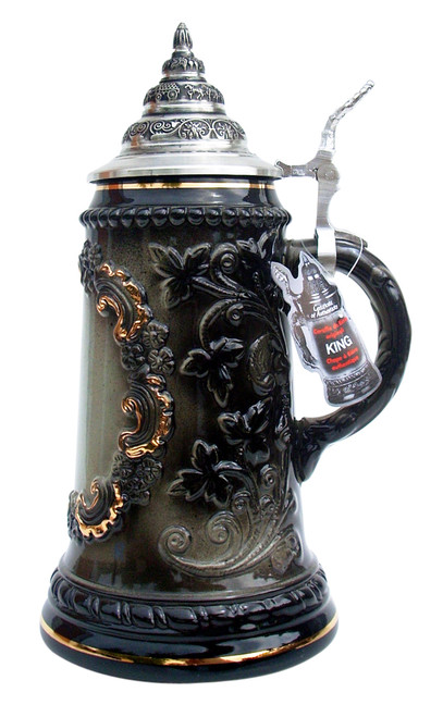 Black Glaze Beer Stein with Gold Accents