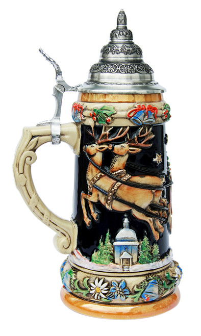 German Christmas Ceramic Stein with Lid