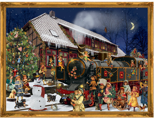 Victorian Train Station at Christmas German Advent Calendar