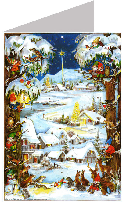Winter Village Advent Calendar Christmas Card