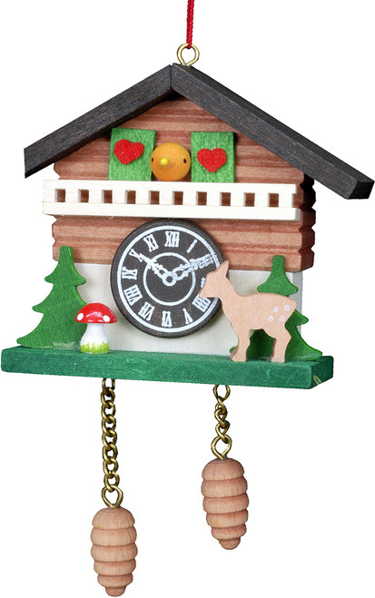 Cuckoo Clock Christmas Ornament with Deer & Trees