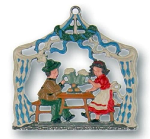 Bavarian Couple at Oktoberfest Pewter Christmas Ornament