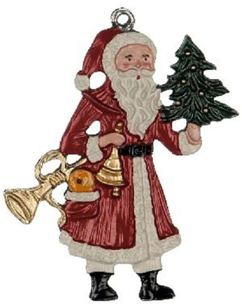 Old World Santa German Pewter Christmas Ornament