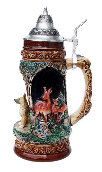 German Shepherd Wildlife Grotto Beer Stein