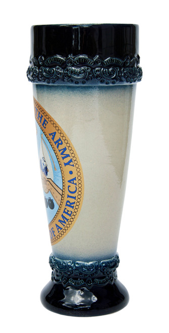 Wheat Beer Glass with Cobalt Blue Glaze on Rim & Base