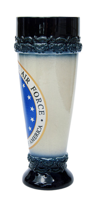 Stoneware Wheat Beer Glass with Blue Glaze on Rim and Base