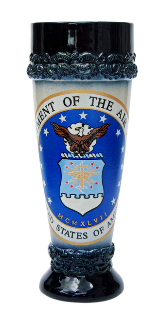 German Stoneware Wheat Beer Glass with US Air Force Emblem