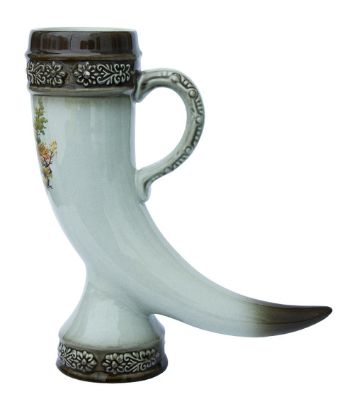 Side View of 0.5L Stoneware Drinking Horn with Bugling Elk