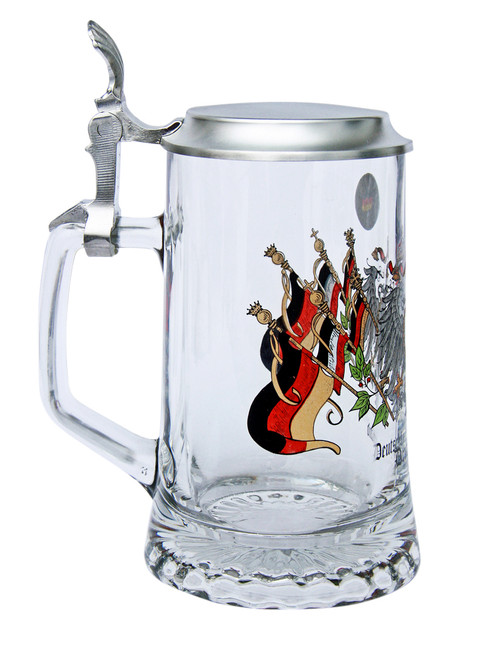 Authentic Personalized Glass Beer Stein with Deutschland Crest