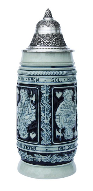 Card Player Beer Stein Cobalt