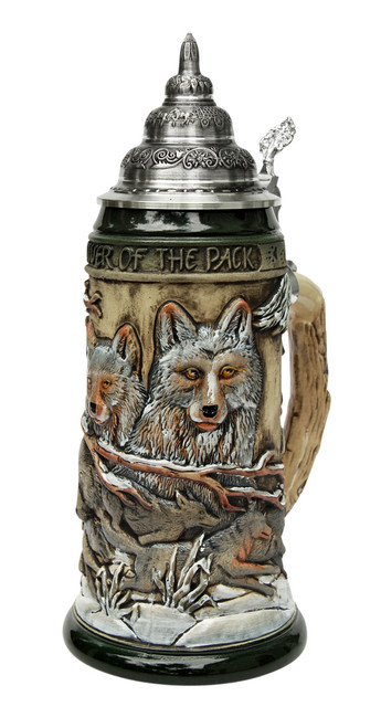 Power of the Pack Wolf Beer Stein Rustic