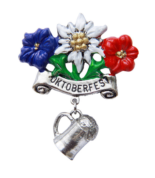 Oktoberfest Alpine Flowers with Beer Mug German Hat Pin