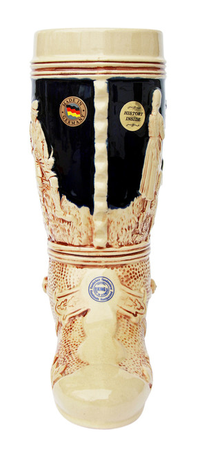 Brown & Cream Colored Ceramic Beer Boot with Spur on Heel