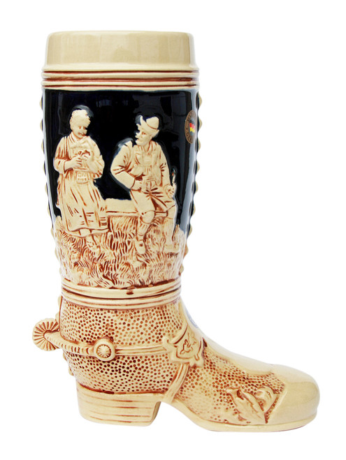 1 Liter Ceramic Beer Boot of Traditional German Scenes