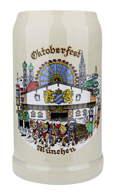 1 Liter German Ceramic Beer Stein