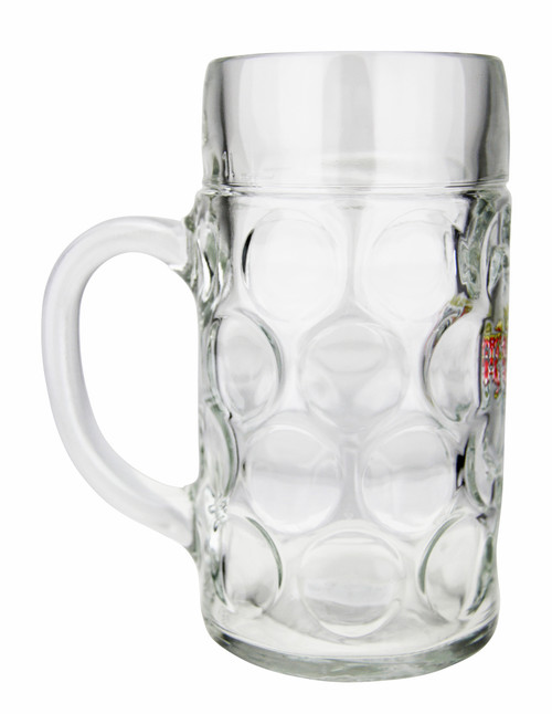 Dimpled Oktoberfest Glass Beer Mug with Handle