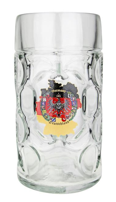 1 Liter German Beer Mug with Traditional German Map