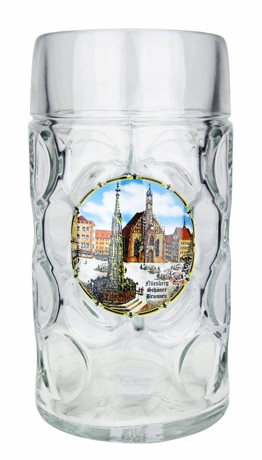 Personalized 1 Liter Beer Mug with Traditional Nurnberg Motif