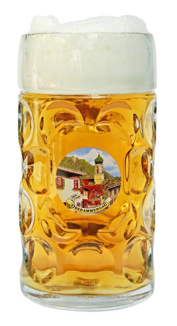 Personalized 1 Liter German Beer Mug with Painting of Oberammergau