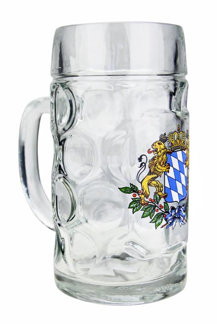 Bavaria Crest Dimpled Oktoberfest Glass Beer Mug 0.5 Liter