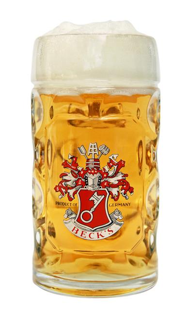 Traditional Glass German Beer Mug with Handle