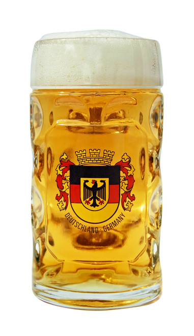 Deutschland Crest Dimpled Oktoberfest Glass Beer Mug Personalized