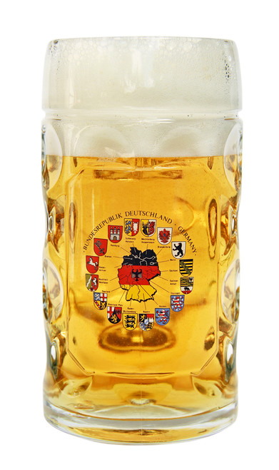 Dimpled Mass Krug with Map & Flags of Germany
