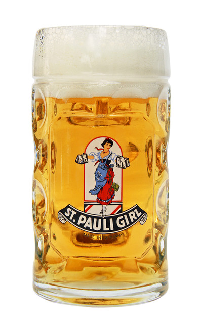 Personalized 0.5 Liter Beer Glass with Traditional St Pauli Girl Logo