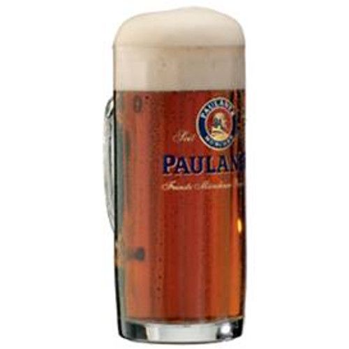 Traditional 0.5 Liter Faceted Paulaner Beer Mug with Dark Beer