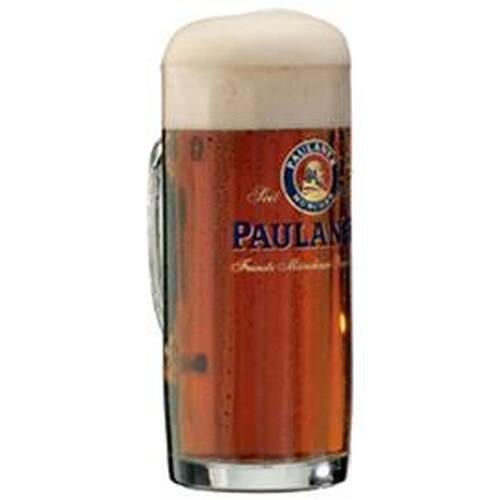 Traditional 0.5 Liter Faceted Paulaner Beer Mug with Dark Beer
