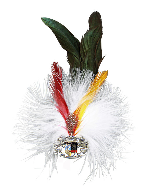 52dfccb0be289 Deer Skull Rosette Feather and Hair German Hat Pin - GermanSteins.com