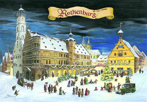 Detailed Christmas in Rothenburg Large German Advent Calendar