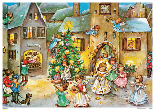 Traditional German Christmas Advent Calendar Angels Visit Village
