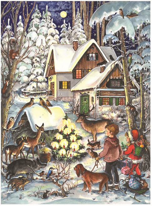 Forest Animals Outside Home German Advent Calendar