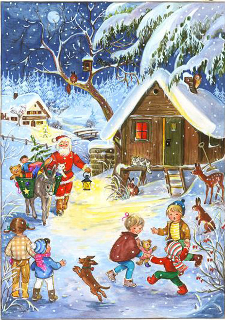 Mountain Village Scene with Santa German Advent Calendar