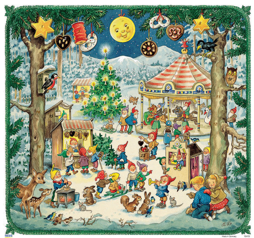 Elf Christmas Festival Scene German Advent Calendar