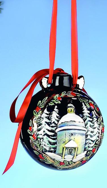 Silent Night Chapel & Santa Ceramic Large Christmas Ornament, Front View