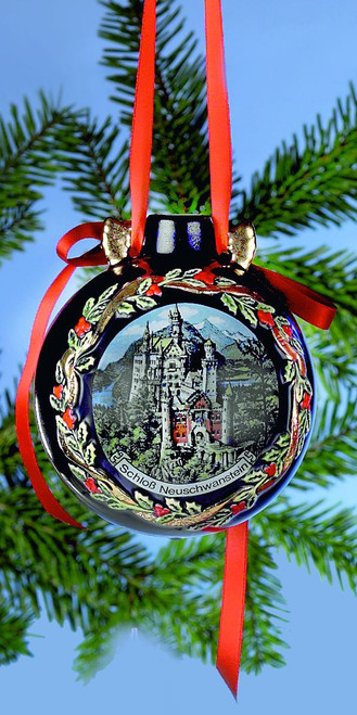 Neuschwastein & Santa Large Ceramic Christmas Ornament, Front