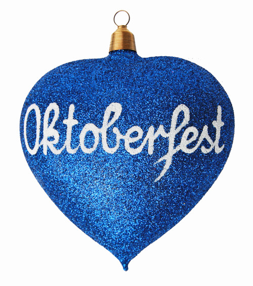 Blue Glitter Glass Heart Christmas Ornament with Oktoberfest Script in White