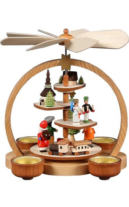 Multi Tier Village with Santa German Wooden Pyramid